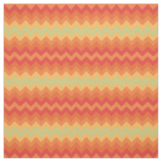 Bright Orange Yellow Green Chevron Pattern Fabric