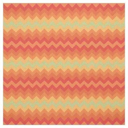 Bright Orange Yellow Green Chevron Pattern Fabric