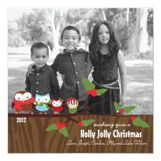 Bright Owl Christmas Holiday Cards Custom 13 Cm X 13 Cm Square Invitation Card