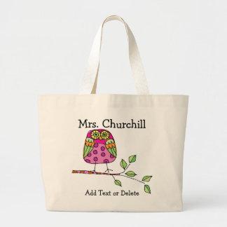 Bright Owl Teacher - SRF Large Tote Bag