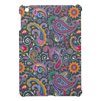 Bright Paisley on Flat Black Cover For The iPad Mini