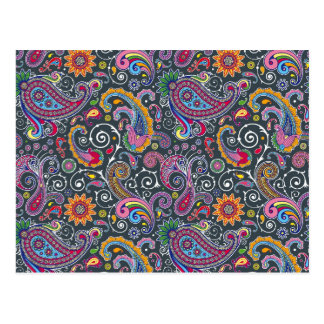 Bright Paisley on Flat Black Postcard