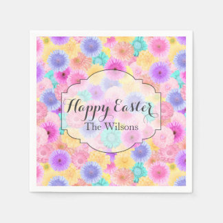 Bright Pastel Floral Happy Easter and Name Disposable Napkin