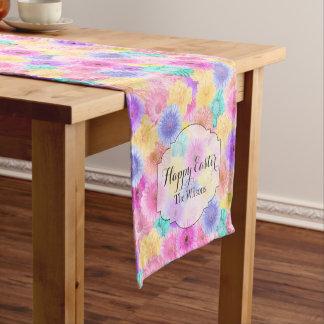 Bright Pastel Flower Pattern Easter Name Short Table Runner