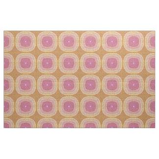 Bright Pastel Pink Yellow Ochre Bali Batik Pattern Fabric