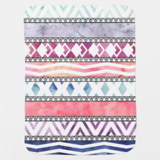 Bright Pastel Watercolor Tribal Aztec Pattern Baby Blanket