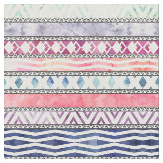 Bright Pastel Watercolor Tribal Aztec Pattern Fabric