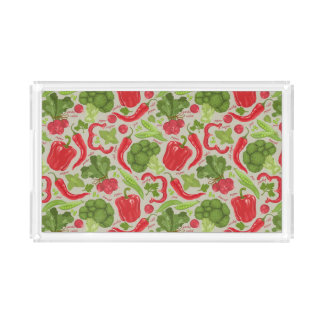 Bright pattern from fresh vegetables acrylic tray