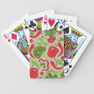 Bright pattern from fresh vegetables bicycle playing cards