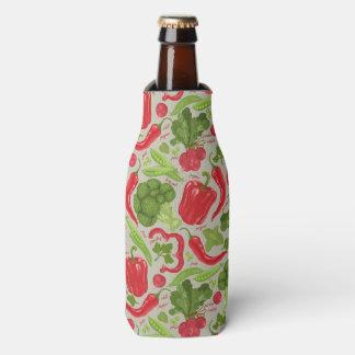 Bright pattern from fresh vegetables bottle cooler