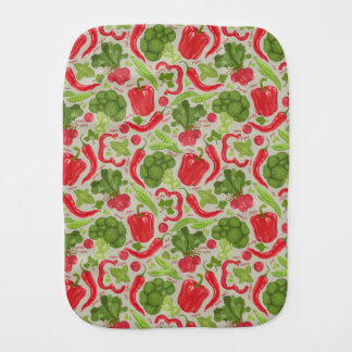 Bright pattern from fresh vegetables burp cloths