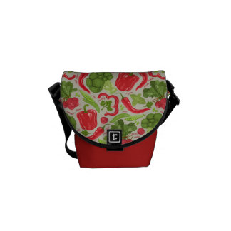 Bright pattern from fresh vegetables commuter bag