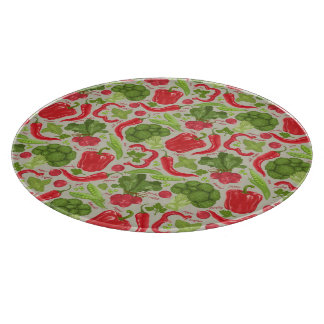 Bright pattern from fresh vegetables cutting board