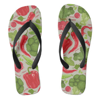 Bright pattern from fresh vegetables flip flops