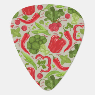 Bright pattern from fresh vegetables plectrum