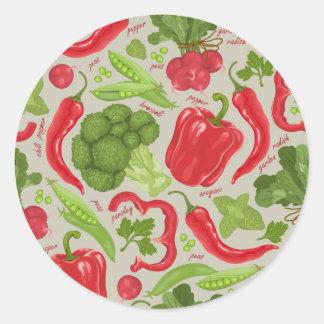 Bright pattern from fresh vegetables round sticker