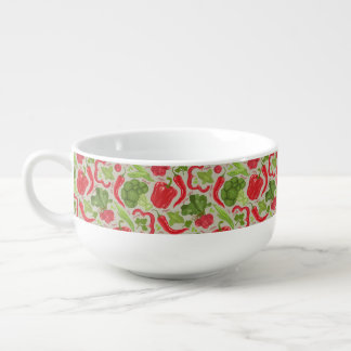 Bright pattern from fresh vegetables soup mug