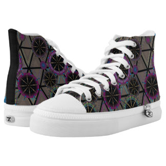Bright pattern of circles and triangles high tops