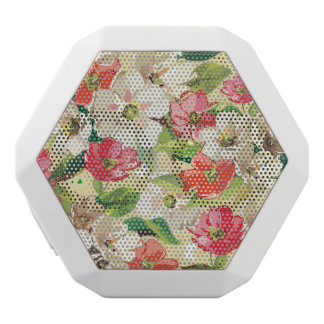 Bright pattern with beige and red flowers white boombot rex bluetooth speaker
