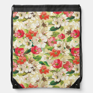 Bright pattern with beige and red flowers drawstring bag