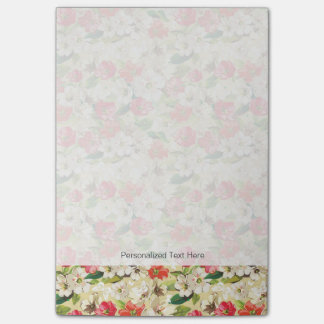 Bright pattern with beige and red flowers post-it notes