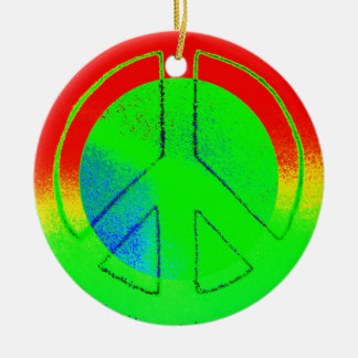 Bright Peace Sign Double-Sided Ceramic Round Christmas Ornament