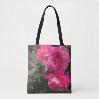 BRIGHT PIN GARDEN  ROSES TOTE BAGS