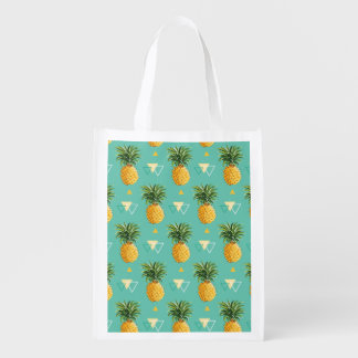 Bright Pineapples On Geometric Pattern
