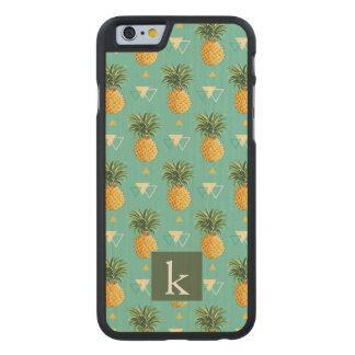 Bright Pineapples On Geometric Pattern | Add Your  Carved Maple iPhone 6 Case