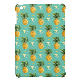 Bright Pineapples On Geometric Pattern Cover For The iPad Mini
