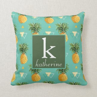 Bright Pineapples On Geometric Pattern Cushion