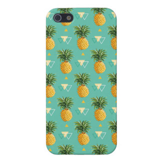 Bright Pineapples On Geometric Pattern iPhone 5 Covers