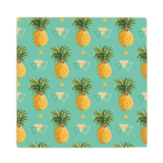 Bright Pineapples On Geometric Pattern Maple Wood Coaster