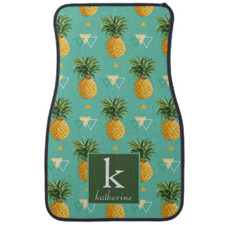Bright Pineapples On Geometric Pattern | Monogram Car Mat