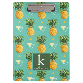 Bright Pineapples On Geometric Pattern | Monogram Clipboard