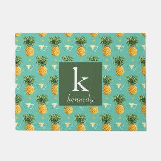 Bright Pineapples On Geometric Pattern | Monogram Doormat