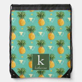 Bright Pineapples On Geometric Pattern | Monogram Drawstring Bag