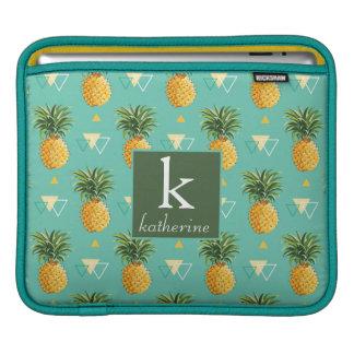 Bright Pineapples On Geometric Pattern | Monogram iPad Sleeves