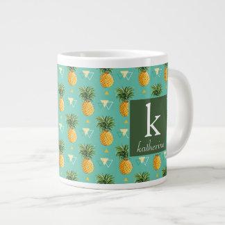Bright Pineapples On Geometric Pattern | Monogram Large Coffee Mug