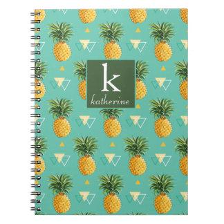 Bright Pineapples On Geometric Pattern | Monogram Notebooks