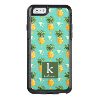 Bright Pineapples On Geometric Pattern | Monogram OtterBox iPhone 6/6s Case