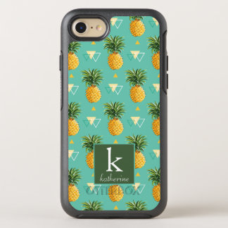 Bright Pineapples On Geometric Pattern | Monogram OtterBox Symmetry iPhone 8/7 Case