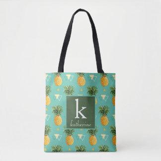 Bright Pineapples On Geometric Pattern | Monogram Tote Bag