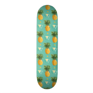 Bright Pineapples On Geometric Pattern Skateboard