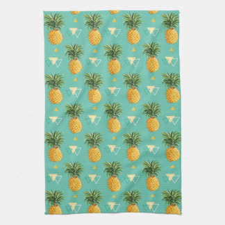 Bright Pineapples On Geometric Pattern Tea Towel