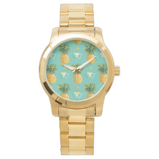 Bright Pineapples On Geometric Pattern Watch