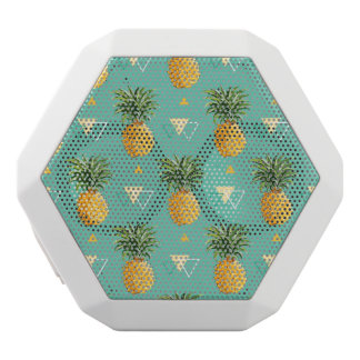 Bright Pineapples On Geometric Pattern White Bluetooth Speaker