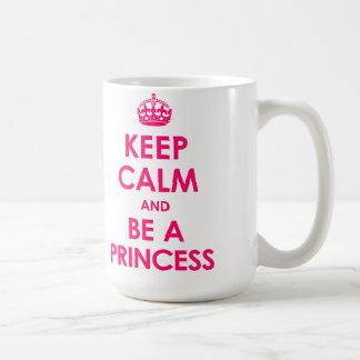 Bright Pink 15 oz Keep Calm and Be a Princess Mugs