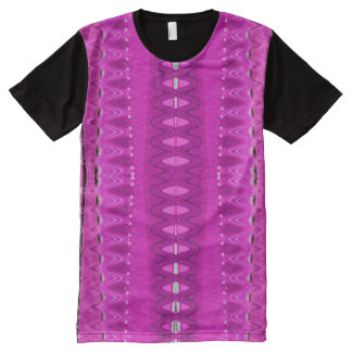 Bright Pink Abstract Design All-Over Print T-Shirt