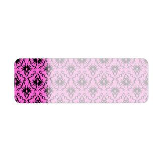 Bright Pink and Black Damask pattern.